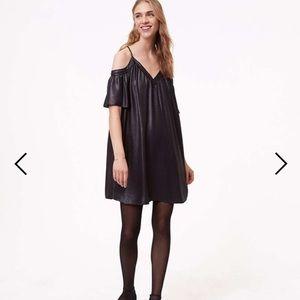 LOFT shimmer cold shoulder cami swing dress NWT